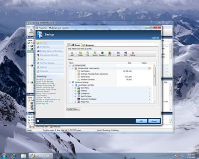 KLS Backup 2008 running on Windows 7 Beta